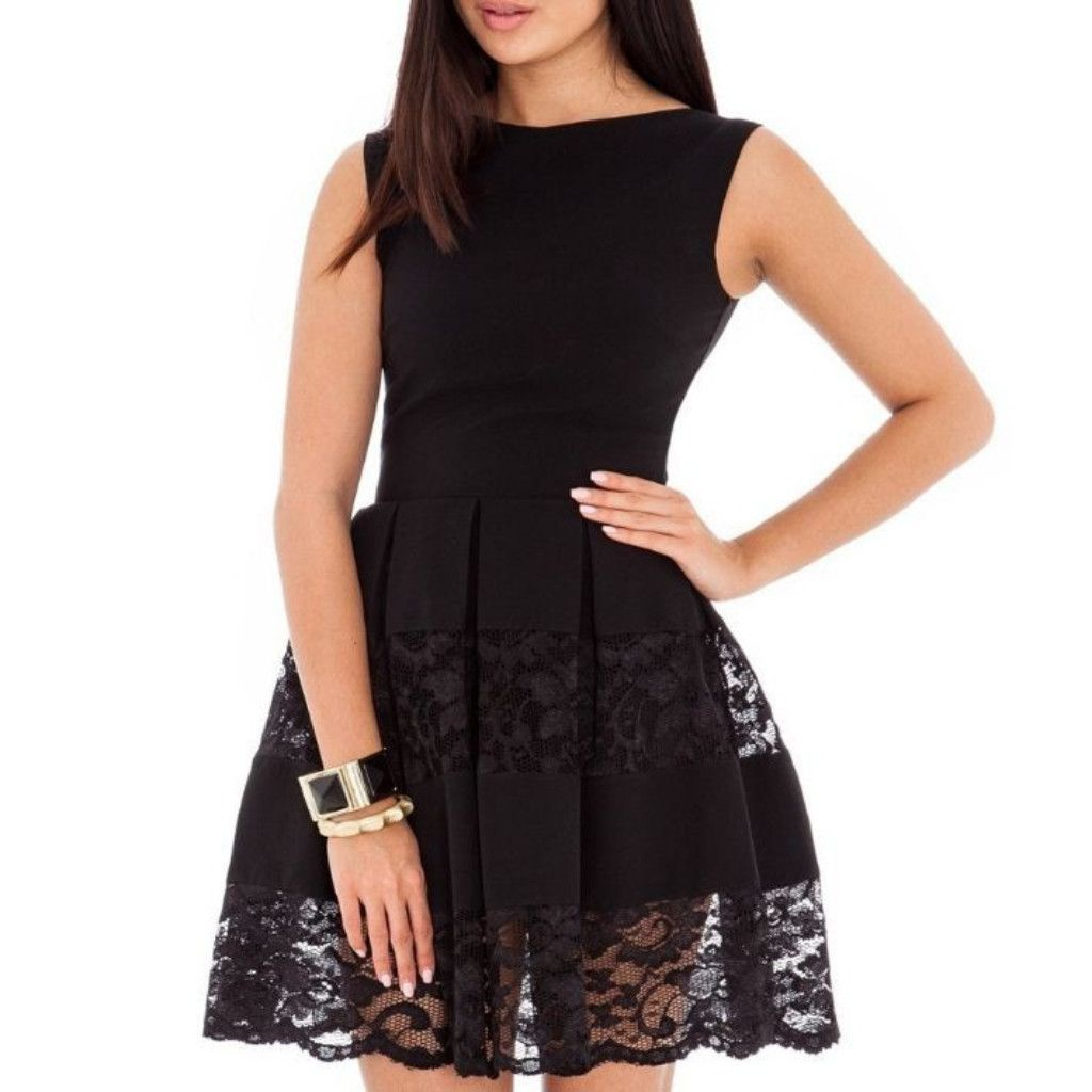 Casual fit and flare lace women skater dress elegant