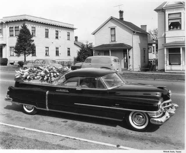 1954 Cadillac flower car   ambulances and hearses and police cars     1954 Cadillac flower car