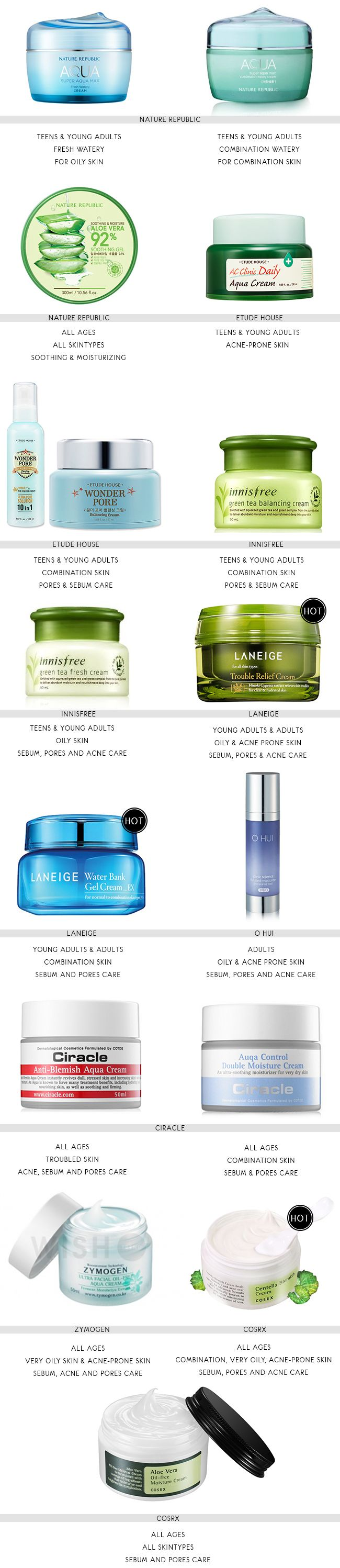 The Best Korean Products For Combination Oily Acne Prone Skins Skin Care Skin Moisturizer Korean Skincare