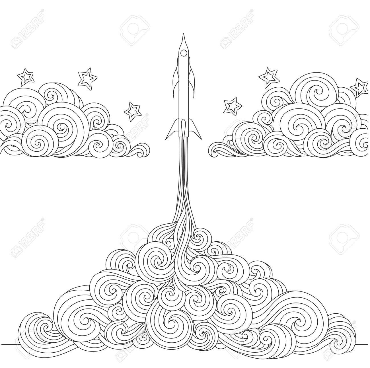 Line Art Design Of A Rocket Launching For Design Element And Coloring Book Page Vector Illust Line Art Design Social Media Design Graphics Vector Illustration