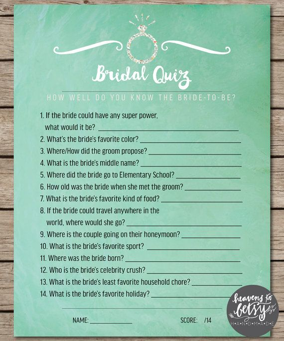 Mint watercolor bridal quiz bridal shower wedding game junglespirit