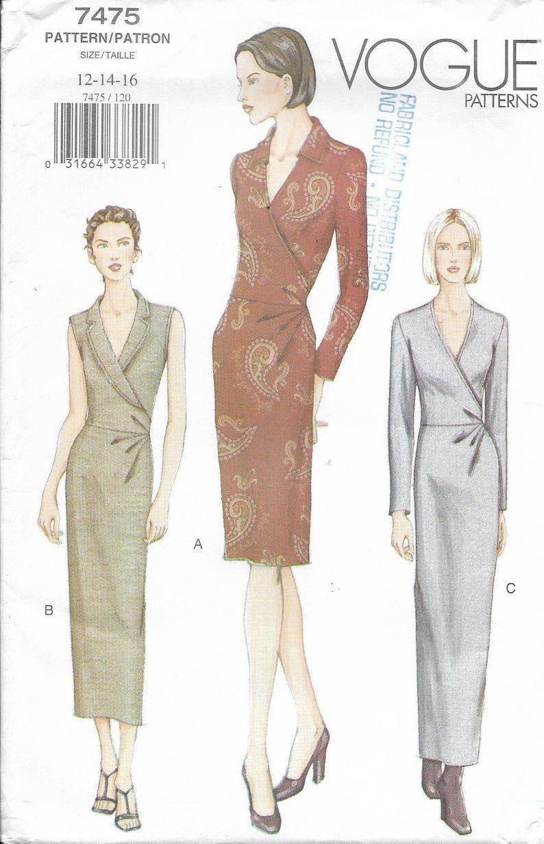 Plus Size Mock Wrap Dress Pattern Easy Vogue Pattern 7475 Etsy Jacket Pattern Sewing Wrap Dress Pattern Women S Sewing Pattern [ 1232 x 794 Pixel ]