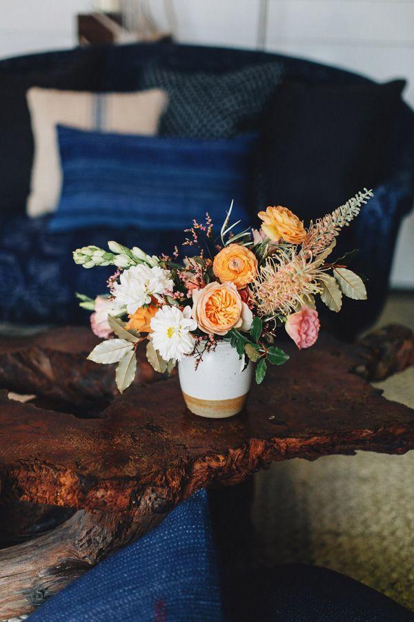 Peach wedding flowers.