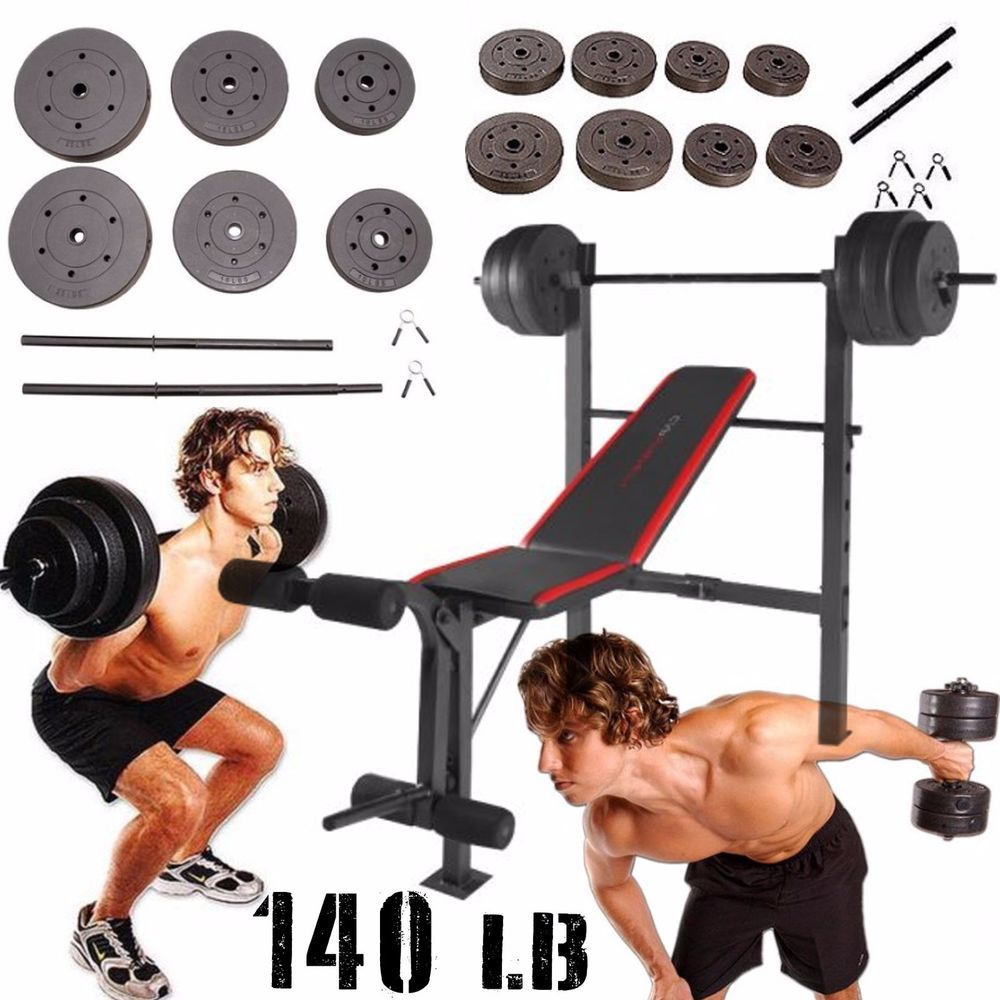 Weight Bench With Weights Set Bar Press Dumbells Barbell Home Gym Workout 140 Lb Cap