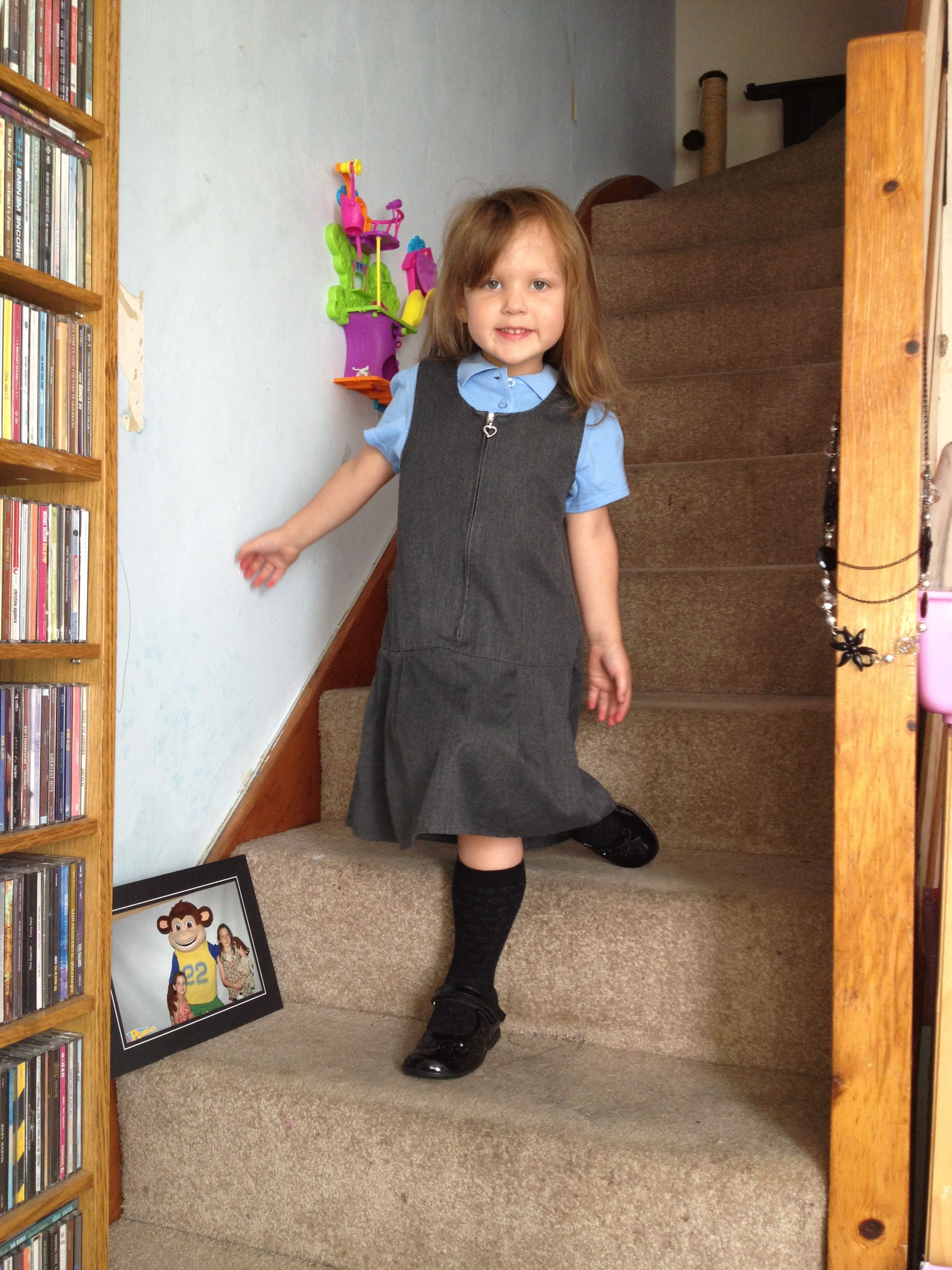 7736a91181 Millie in her school uniform ready for first day of school | Uniform ...