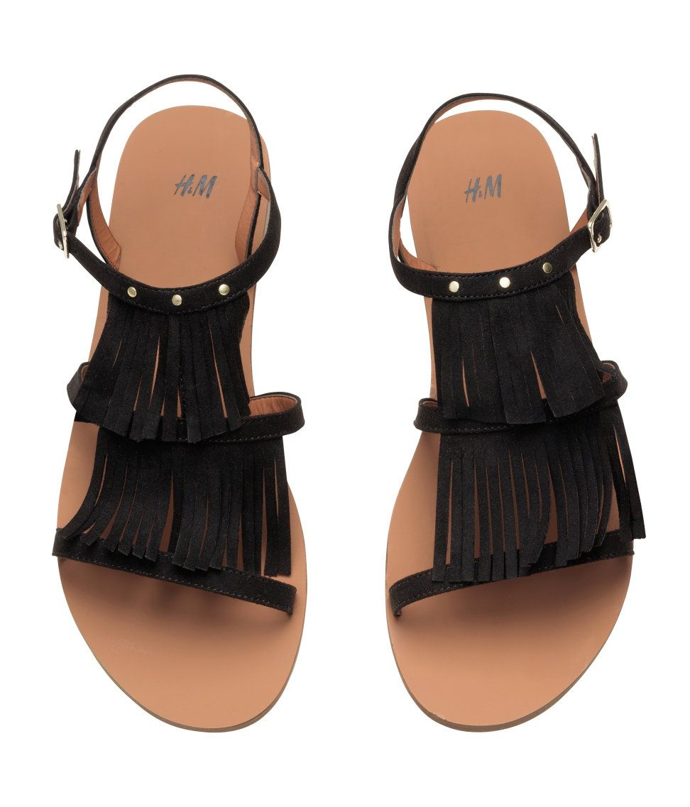 02bcbcb70 Sandals in imitation suede with fringe and small round studs at top ...