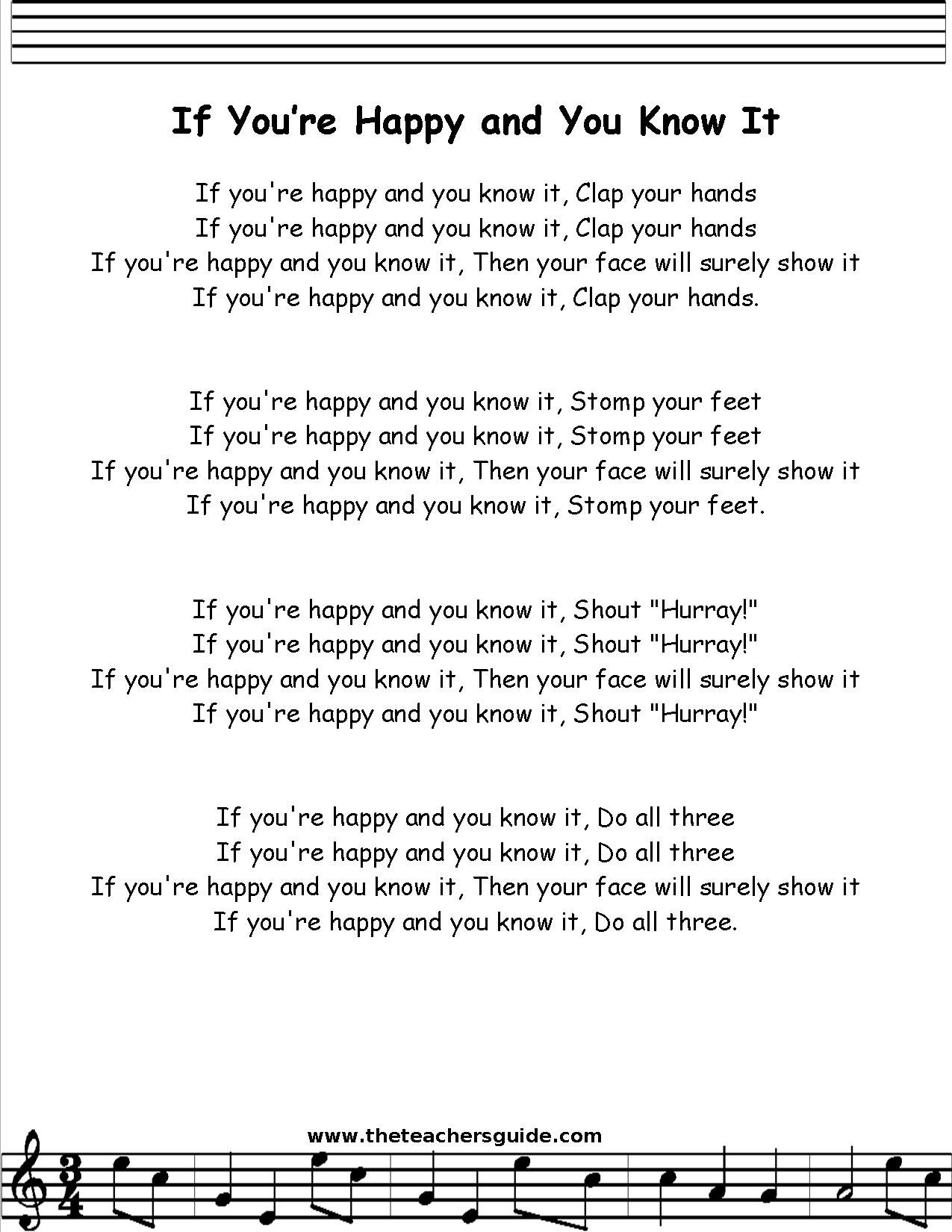 if you u0027re happy and you know it lyrics printout children u0027s songs