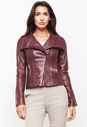 Danier Official Store, Bree Lamb Leather Biker, merlot, Women, 104030555