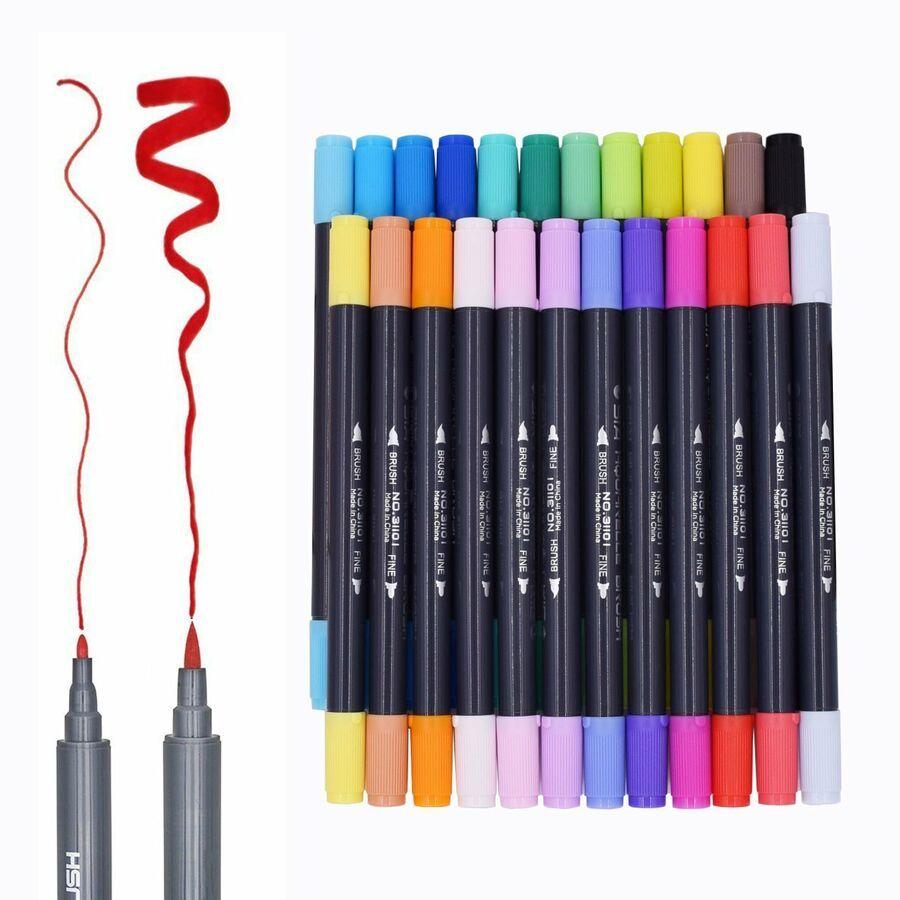 Dual Tips Watercolour Brush Pen Set With Fineline Felt Tip Art