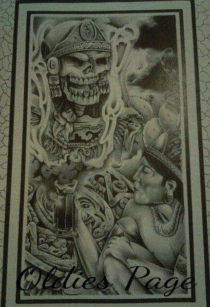 Chicano art art pinterest chicano art chicano and for Aztec mural tattoos