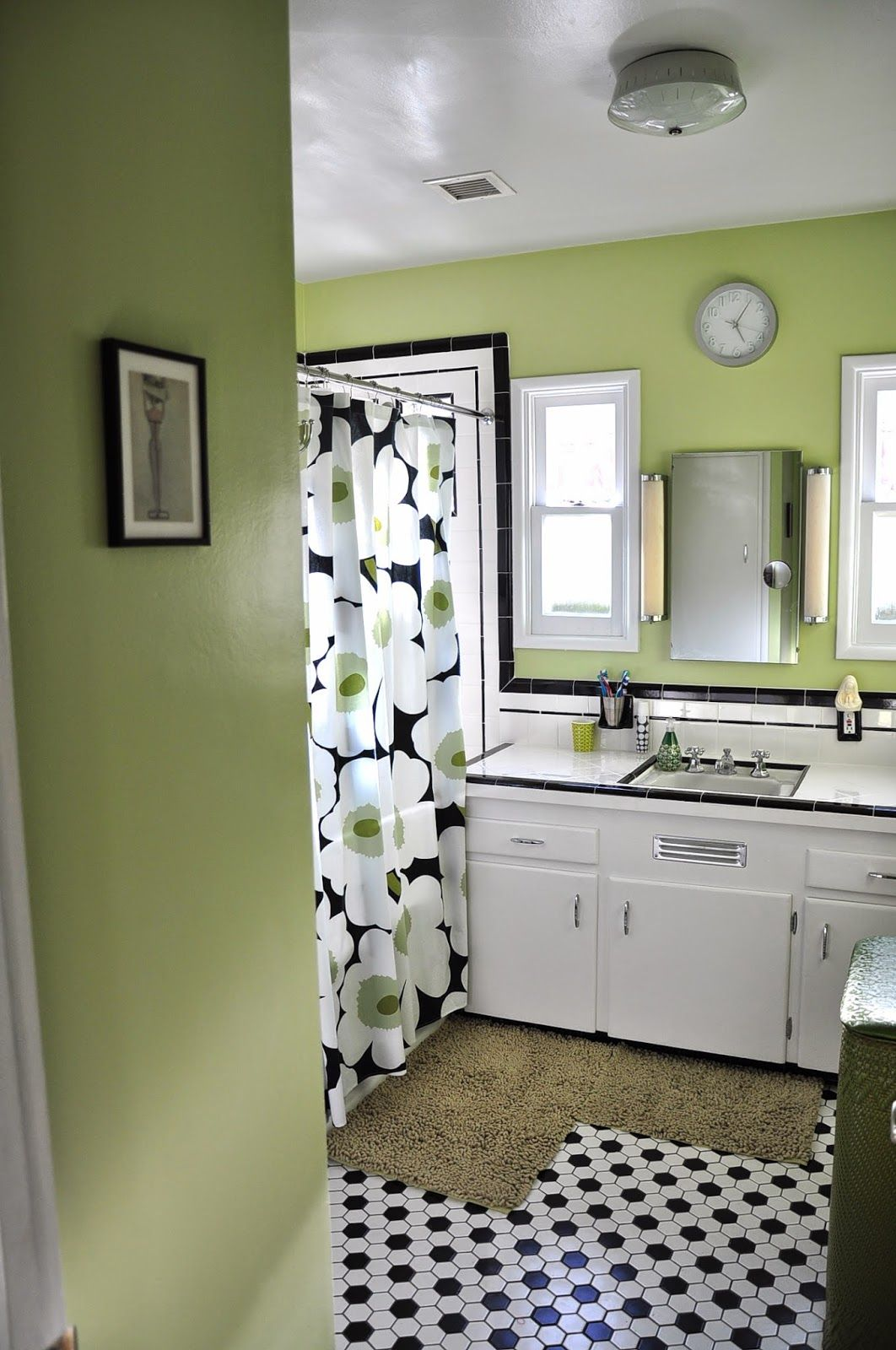 Black White And Green Bathroom With Marimekko Shower Curtain