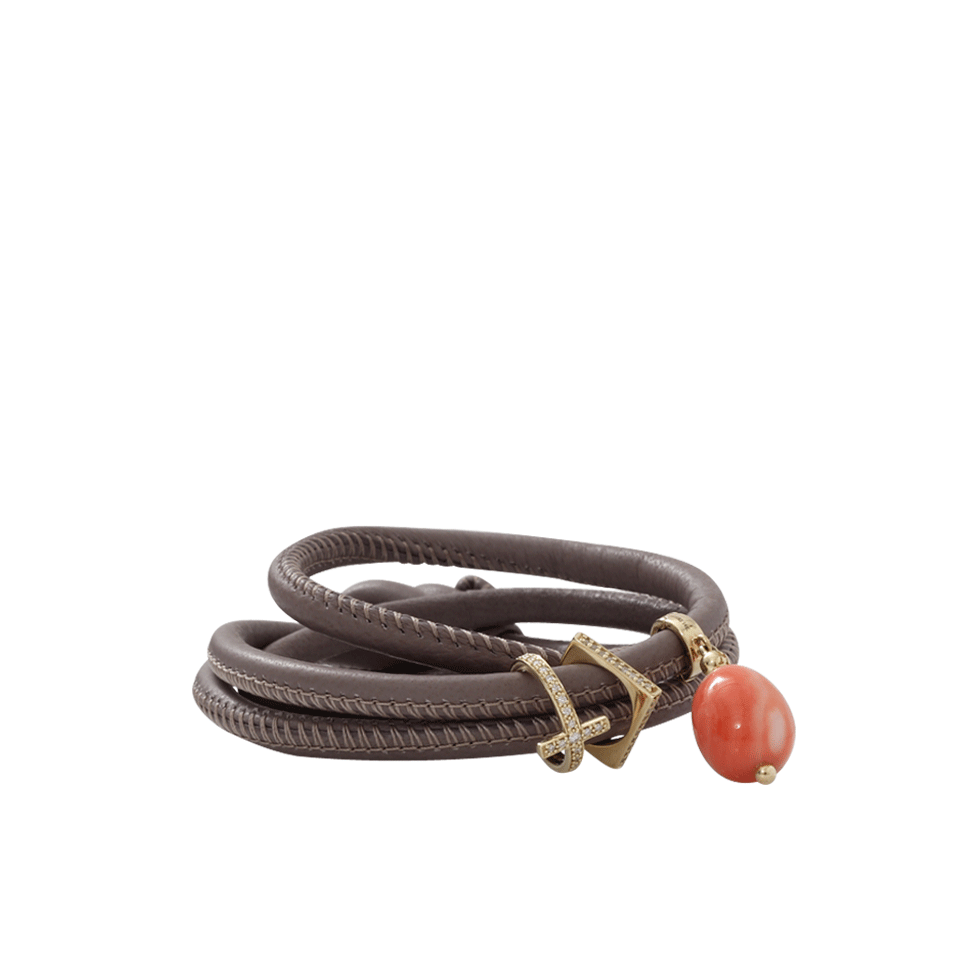 Coral And Diamond Cross Wrap Bracelet   Marissa Collections