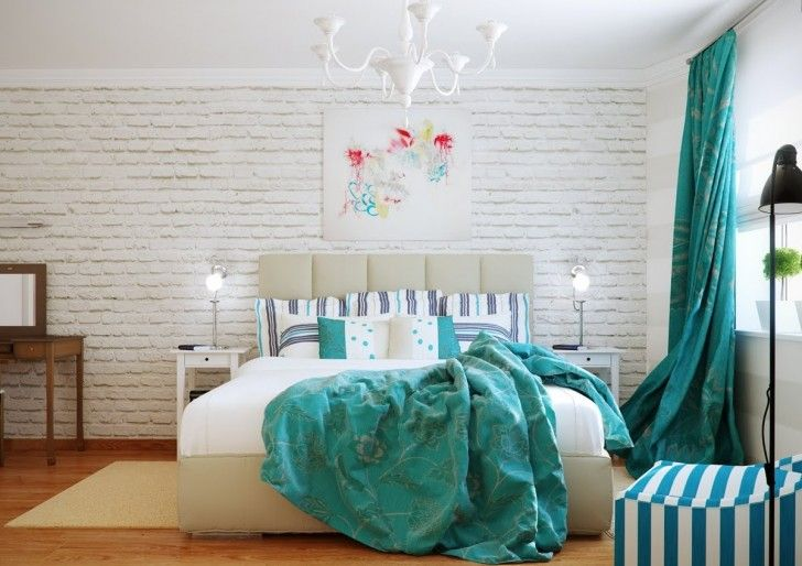 Interior Design, Turquoise White Bedroom Decor Scheme Wall Green Pillow Blankets Green Lighting Room Bed Cover Drawer Brown Floor Art Painting Rugs Ceiling Mirror And Table ~ Cool Classic Traditional Home with Warm and Chic Interior Atmosphere