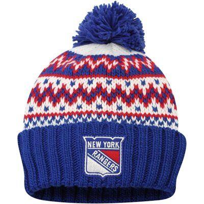 Women s New York Rangers CCM Royal Blue Cuffed Current Knit Hat. Gotta love  the pom pom. dbfe88c8994