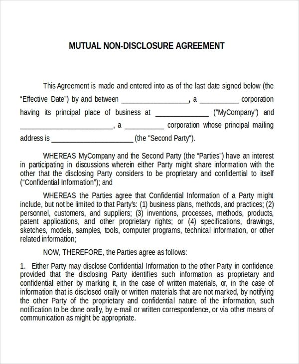 Non disclosure agreement master thesis
