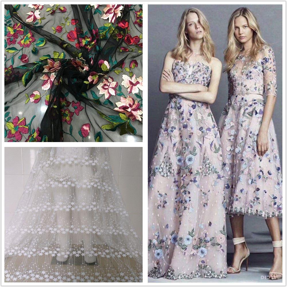 80717c928ad Купить товар Новый черный марли небольшой цветочной вышивкой кружевное  платье Тяжелая ткань высокого класса мода ткань