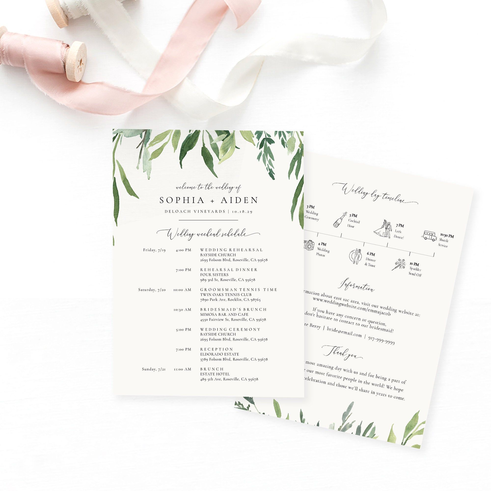 Greenery Branch Wedding Timeline Card Template Printable Etsy In 2020 Wedding Timeline Wedding Itinerary Card Templates Printable