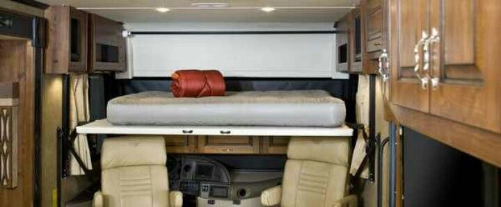 The Hide A Loft Drop Down Bed Over The Driving Compartment