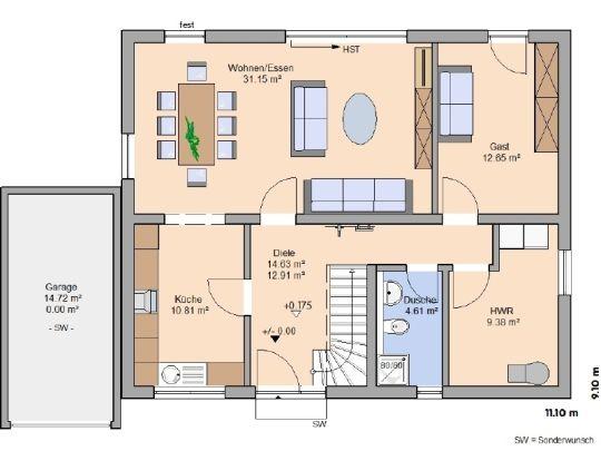 Grundriss erdgeschoss garage auf die andere seite mit zugang zum hwr wohnzimmer evtl etwas - Grundriss wohnzimmer ...