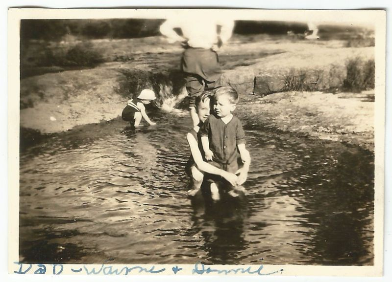 Young Boys At Swimming Hole W Headless Man Old Vintage Photo Snapshot S3131
