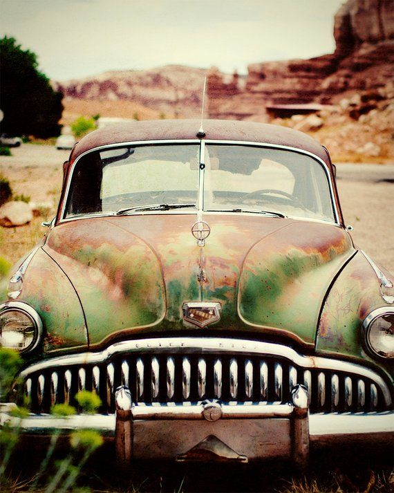 Vintage Car Photography, Classic Automobile, Rusty Buick, Gift for Dad, Film Photography, Garage Art, Rustic Wall Art, Vintage Auto Photo