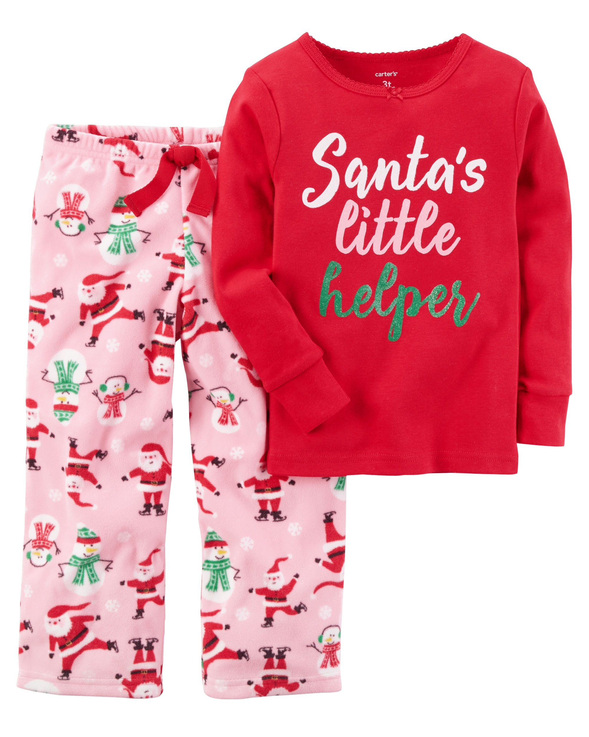 e8f5f7d60f Kid Girl 2-Piece Christmas Cotton   Fleece PJs