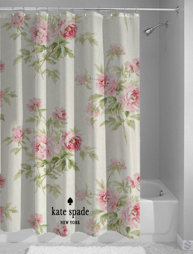 new design kate spade floral logo roses shower curtain cheap and