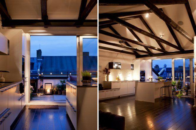 Cocina con isla y terraza Cocina con isla, Cocina escandinava y