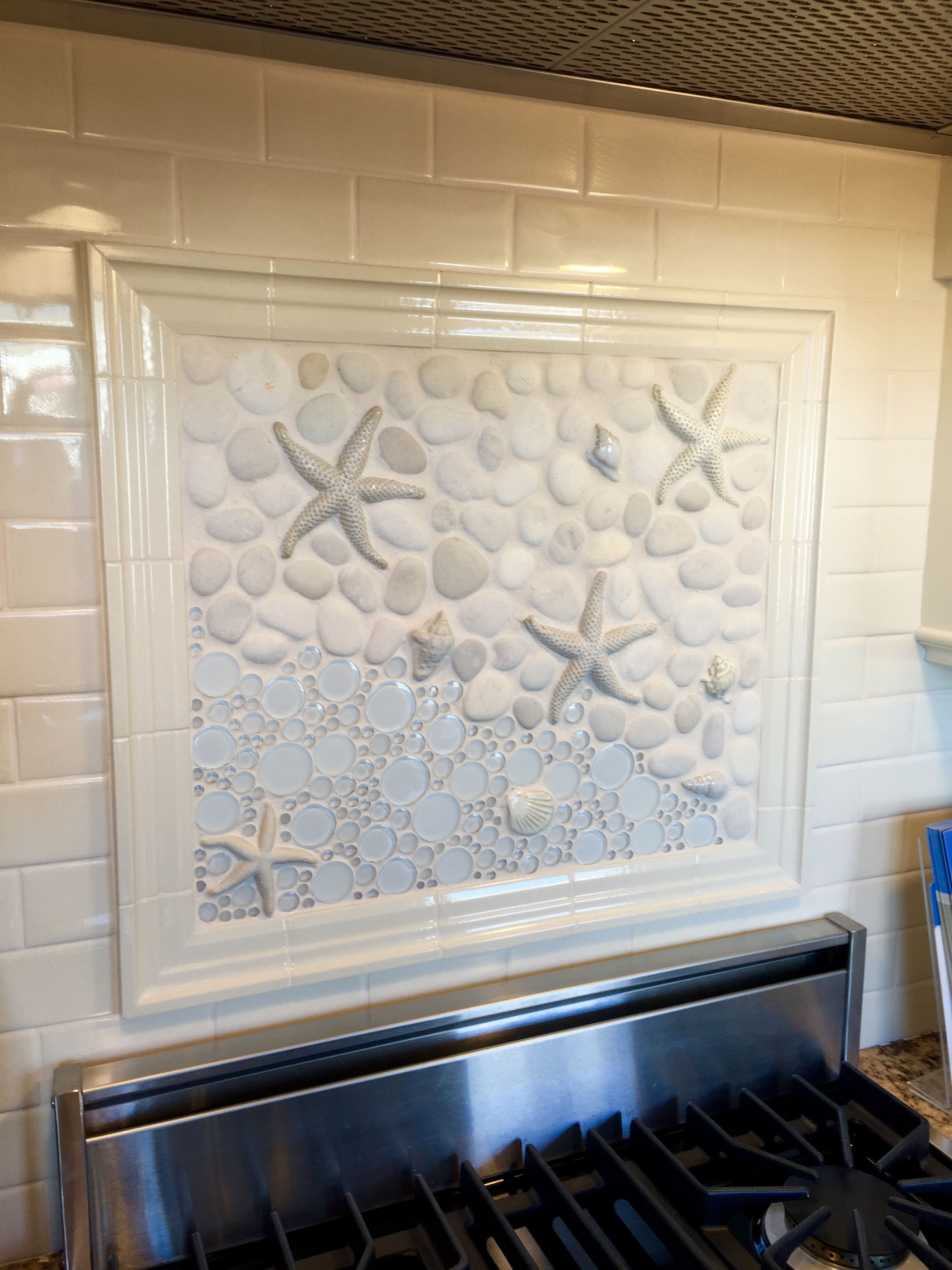 - Starfish Tile Stove Backsplash Coastal Kitchen Design Cape