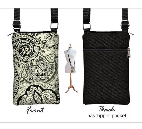 Iphone 6 Plus Case Mini Crossbody Bag Paisley Cell Phone Holder Small Cross Body Handbag Black White Grey Fabric Rts
