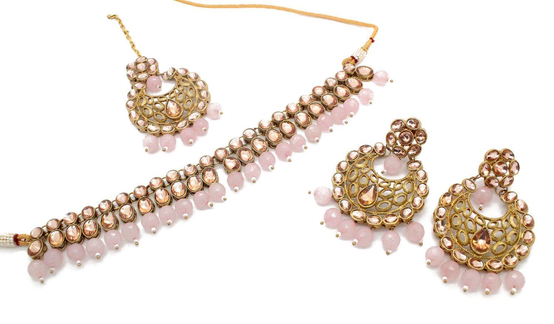 2cbf2e2e8 Lightweight Flexible Indian Asian Kundan Antique Gold Choker Necklace Jewellery  Jewelry Set