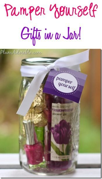 Pamper Yourself Gifts In A Jar Such A Fun Diy Spa Mason Jar Gift Idea For All The Women And Girls On Your List Mason Jar Gifts Diy Mason Jar Gifts