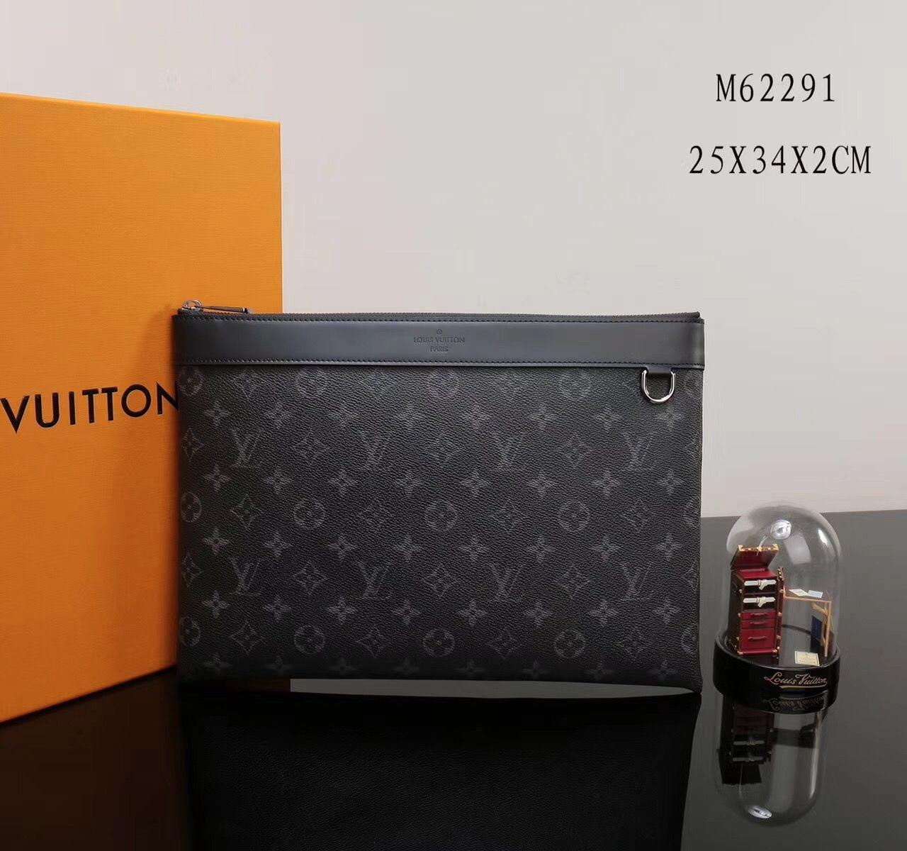 Replica Men Lv Louis Vuitton M62291 Pochette Apollo Clutch Bag Monogram Handbag Gray Monogram Handbag Clutch Bag Vuitton