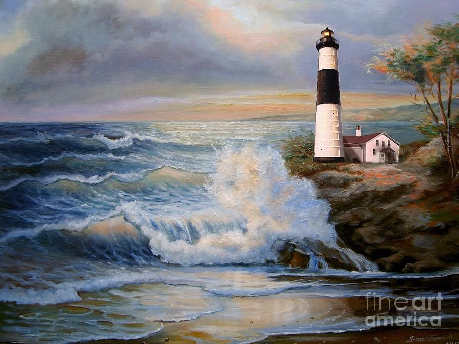 Big Sable Point Michigan Lighthouse Oil Painting Painting ...