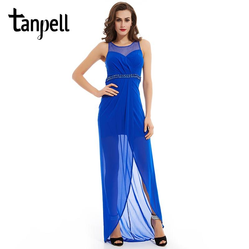 Click to Buy << Tanpell split front evening dress royal blue crystal ...