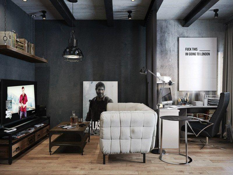 Salon style industriel purement masculin avec bureau à la maison à