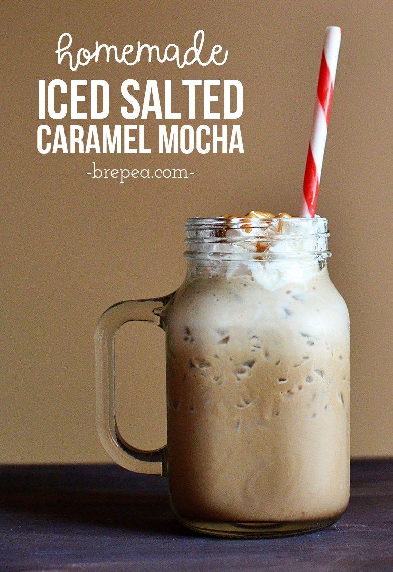 Homemade iced salted caramel mocha bre pea salted