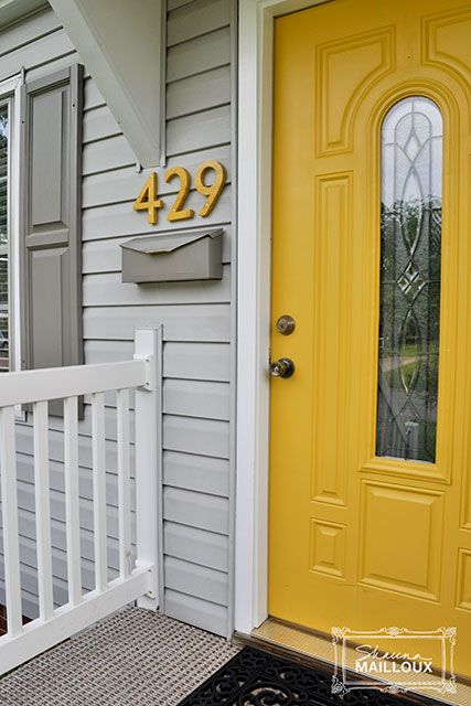 House Numbers Mail Box Makeover Yellow Frontdoor Mailbox Post Redo Upcycle Diy Tutorial Idea