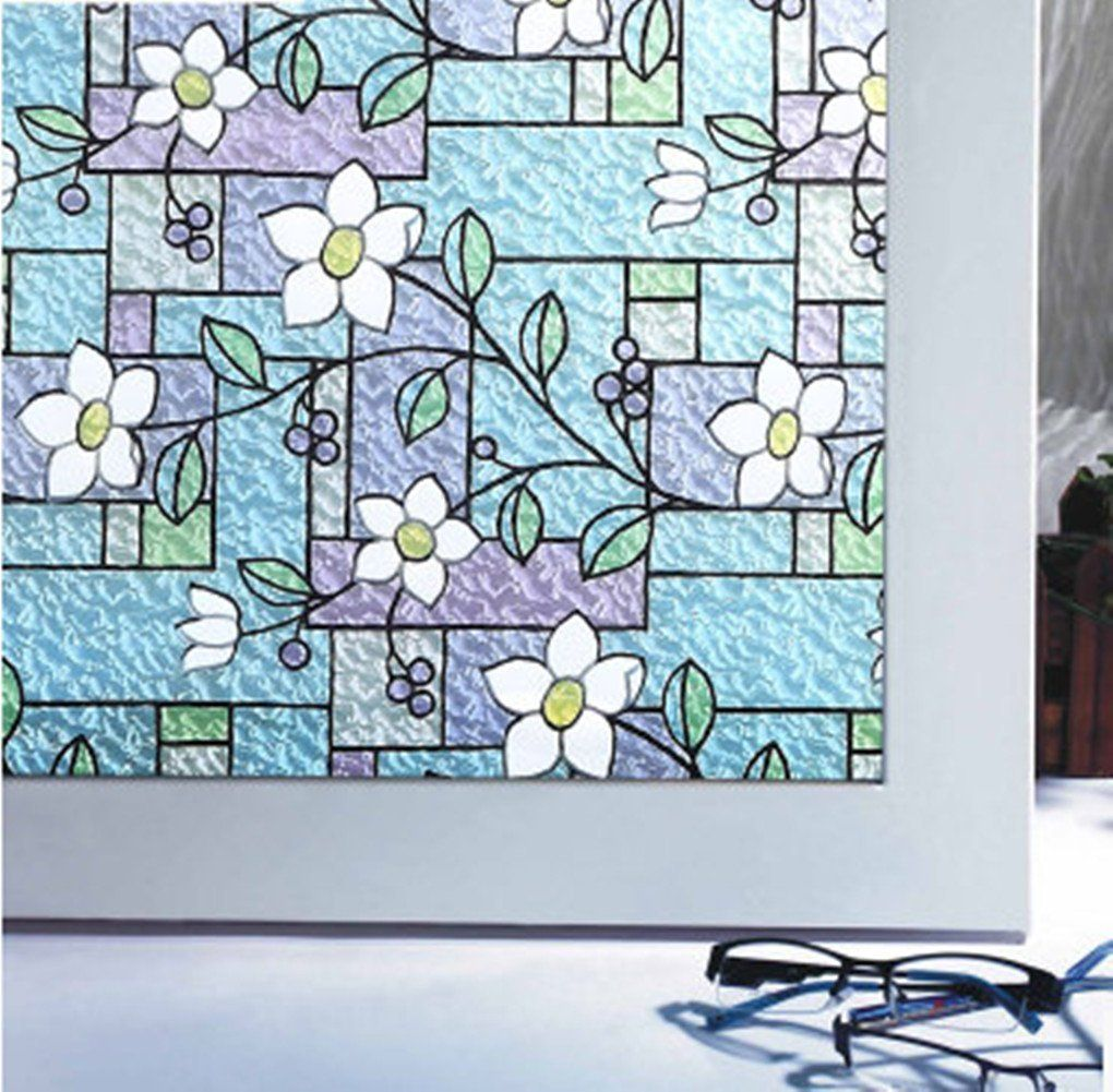 Temall Decorative Privacy Window Film Frosted Stained Glass No-glue ...