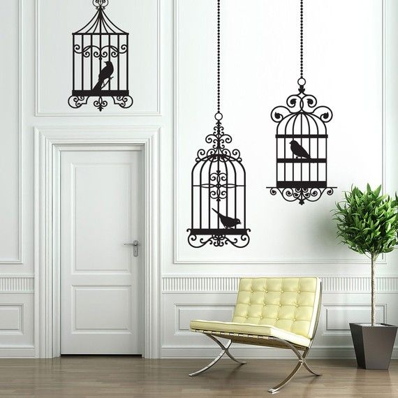 Vinyl Wall Decal Sticker Art - Trio of Whimsical Birdcages | Baby ...