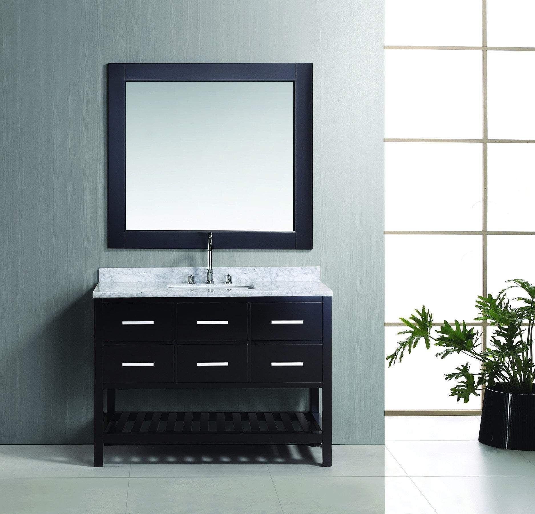 "London 48"" Single Sink Vanity Set, Espresso Finish, Marble"