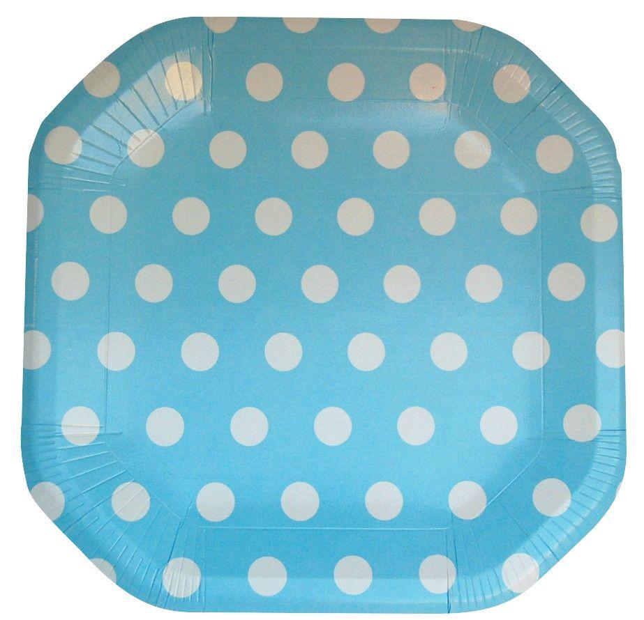 Pratos de Papel : Pratos de Papel Poá Azul - 8 und