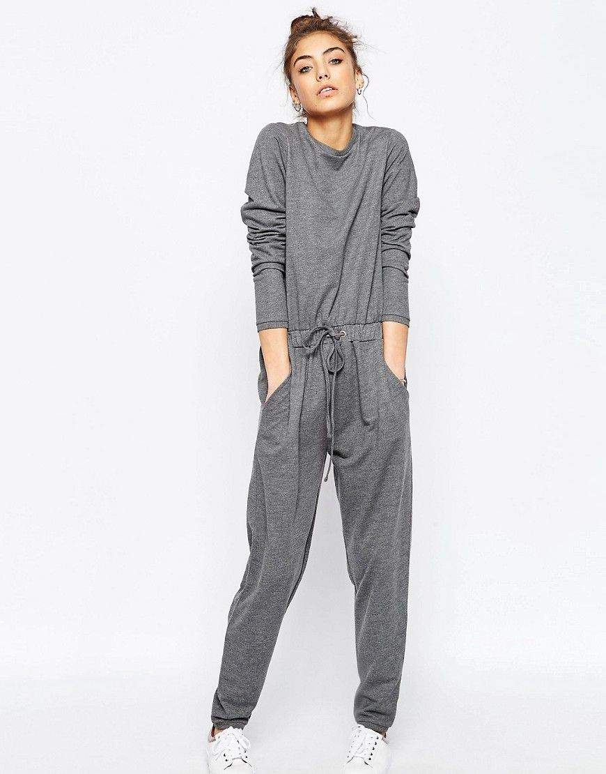 Image 1 ofASOS Jersey Jumpsuit with Long Sleeves and Drawstring Waist in Sweat