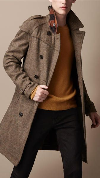 c1757add3454 TWEED + Burberry   love. Brit Midlength Wool Tweed Trench Coat in Brown for  Men (dark canvas) - Lyst