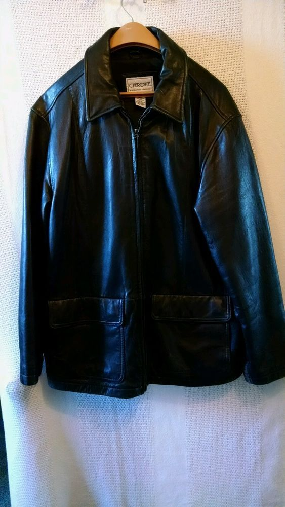 d25a4cee509f Vintage cherokee men black leather coat leather cherokee basiccoat jpg  563x1000 Cherokee leather jacket