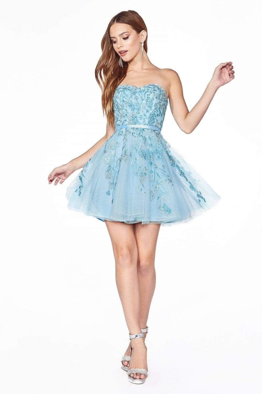 Cinderella Divine Kv1048 Floral Applique Sweetheart A Line Dress Strapless Cocktail Dresses Beaded Cocktail Dress Sassy Dress [ 1500 x 1000 Pixel ]