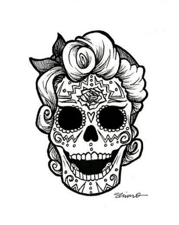 sugar skull coloring pages bing images - Simple Sugar Skull Coloring Pages