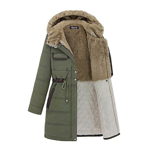 Zicac Womens Winter Warm Coat Hood Parka Overcoat Long Jacket 6Asia Tag XL Green *** You can find out more details at the link of the image.