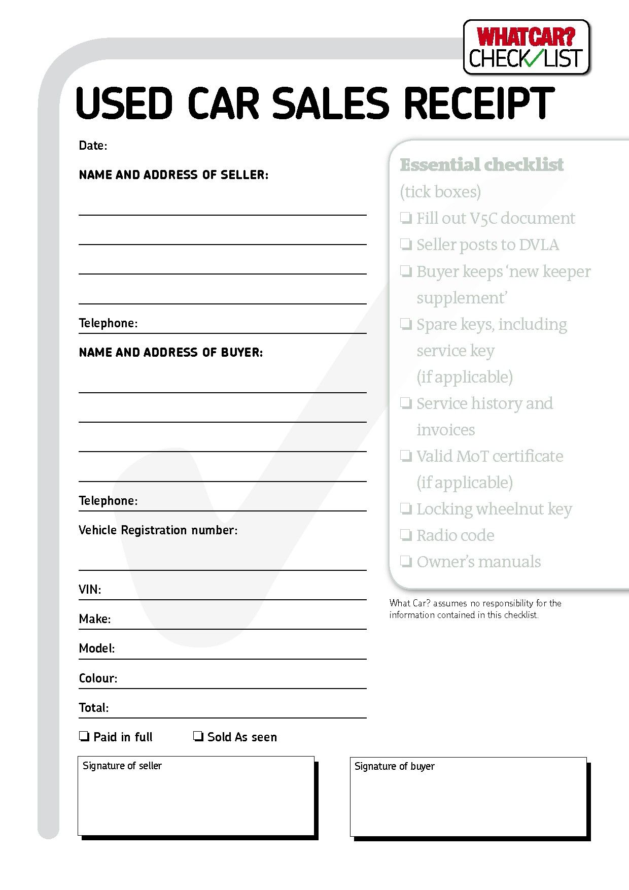 Vehicle Sale Receipt Template Uk Five Things You Most