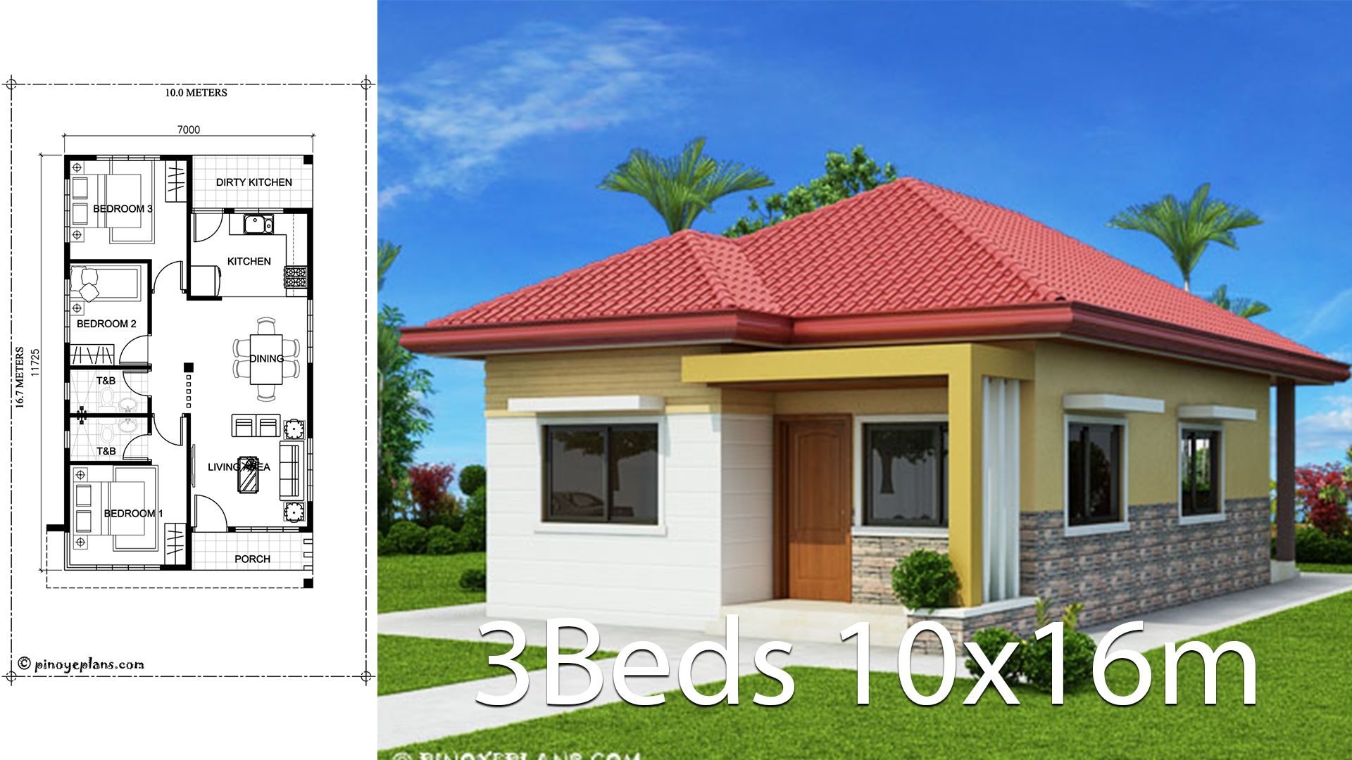 Home Design 10x16m With 3 Bedrooms House Description Number Of Floors 1 Storey Housebedroom 3 Roo Affordable House Plans Bungalow Style House Plans House Plans
